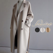 Plain Long Office Style Elegant Style Chester Coats