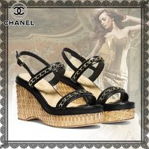 CHANEL Platform Casual Style Studded Chain Plain Leather