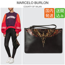 Marcelo Burlon Casual Style Street Style Bag in Bag Leather Clutches