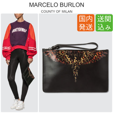 Casual Style Street Style Bag in Bag Leather Clutches