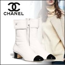 CHANEL Plain Leather Elegant Style Ankle & Booties Boots