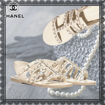 CHANEL Studded Chain Plain Leather Elegant Style Sandals Sandal