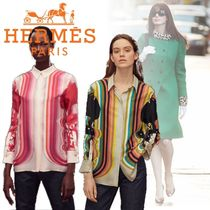 HERMES Stripes Casual Style Enamel Silk Blended Fabrics Cropped