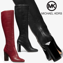 Michael Kors Plain Leather Block Heels Elegant Style High Heel Boots