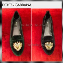 Dolce & Gabbana Heart Platform Plain Toe Velvet With Jewels Elegant Style