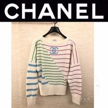 CHANEL ICON Short Stripes Cashmere Street Style Long Sleeves Handmade
