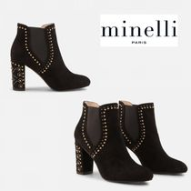 minelli Plain Elegant Style Chunky Heels Ankle & Booties Boots