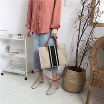 Stripes Casual Style Street Style A4 Bi-color Totes