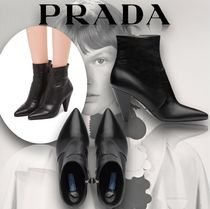 PRADA Casual Style Plain Leather Block Heels Party Style