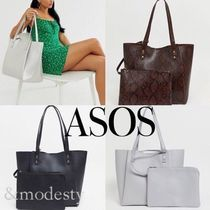 ASOS Casual Style Faux Fur A4 Plain Office Style Totes