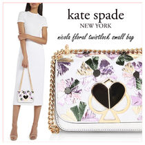 kate spade new york NICOLA Flower Patterns Chain Plain Leather Party Style