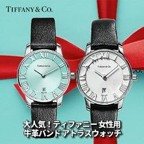 Tiffany & Co THE ATLAS Casual Style Leather Round Party Style Quartz Watches