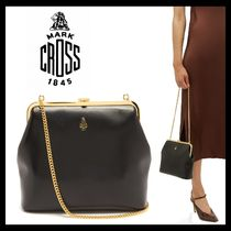 MARK CROSS Plain Leather Party Style Elegant Style Shoulder Bags