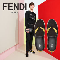 FENDI Studded Leather Loafers & Slip-ons
