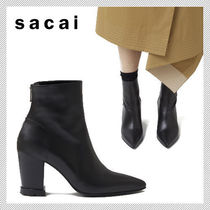 sacai Casual Style Plain Leather Ankle & Booties Boots