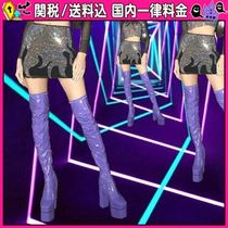 DOLLS KILL Square Toe Platform Casual Style Plain Over-the-Knee Boots