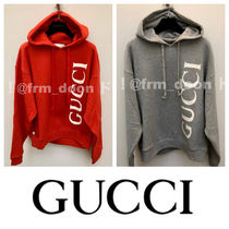 GUCCI Sweat Long Sleeves Plain Cotton Logo Luxury Hoodies