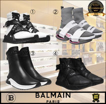 BALMAIN Casual Style Unisex Plain Leather Logo Low-Top Sneakers