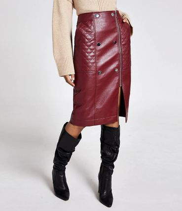 Casual Style Faux Fur Medium Midi Skirts