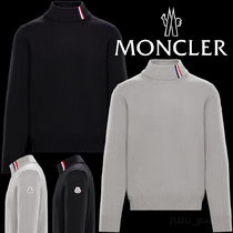 MONCLER Wool Long Sleeves Plain Logos on the Sleeves Sweaters