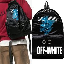 Off-White Blended Fabrics Street Style A4 Backpacks