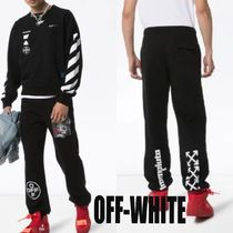 Off-White Printed Pants Unisex Street Style Cotton Patterned Pants