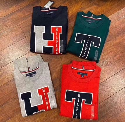 Street Style Long Sleeves Plain Logo Sweaters