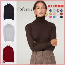 Sfera Casual Style Long Sleeves Plain Turtlenecks