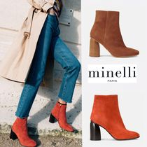 minelli Open Toe Plain Elegant Style Ankle & Booties Boots