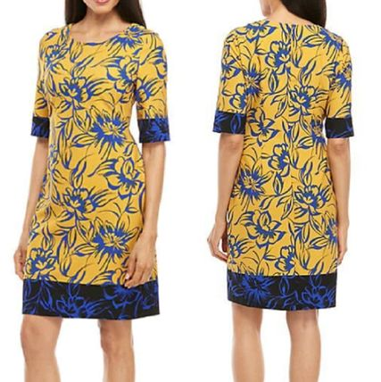 Flower Patterns A-line Medium Short Sleeves Party Style