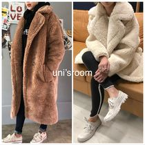 Faux Fur Street Style Plain Long Oversized