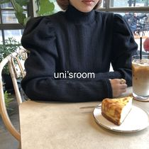 Plain Medium Long High-Neck Puff Sleeves Turtlenecks