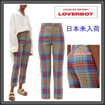 Tartan Casual Style Wool Long Logo Pants
