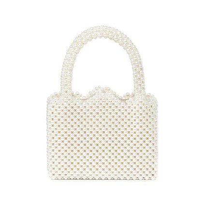 Plain Party Style With Jewels Elegant Style Handbags