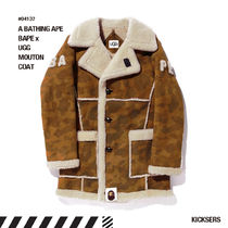 A BATHING APE Camouflage Unisex Fur Street Style Collaboration Long Logo