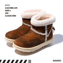 A BATHING APE Camouflage Unisex Fur Street Style Collaboration Boots