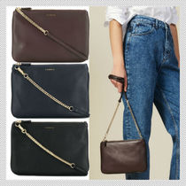 sandro Casual Style Chain Plain Leather Party Style Shoulder Bags