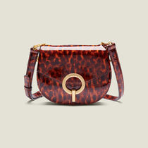 sandro Leopard Patterns Chain Leather Elegant Style Shoulder Bags