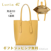 4℃ Casual Style A4 Plain Leather Elegant Style Totes