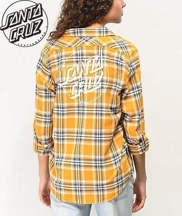 Street Style Long Sleeves Cotton Front Button