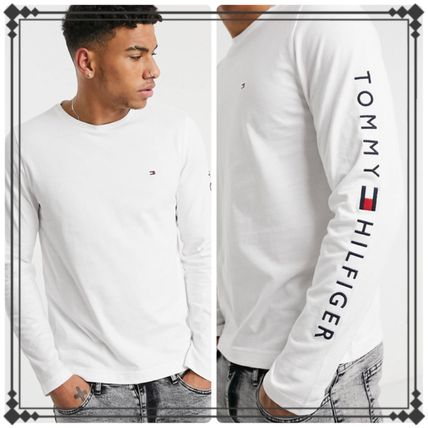 Tommy Hilfiger Long Sleeve Crew Neck Street Style Long Sleeves Plain Cotton