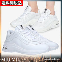 MiuMiu Round Toe Rubber Sole Lace-up Leather With Jewels
