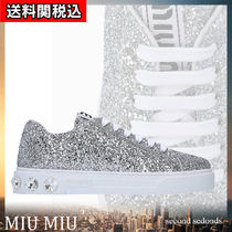 MiuMiu Round Toe Rubber Sole Lace-up With Jewels Glitter