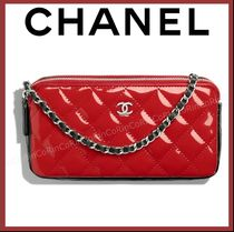 CHANEL Calfskin Chain Party Style Clutches
