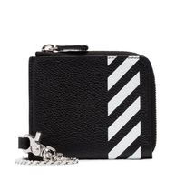 Off-White Stripes Street Style Chain Plain Leather Long Wallet  Logo