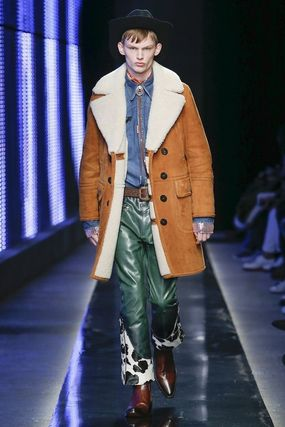 D SQUARED2 Leather Long Shearling Chester Coats