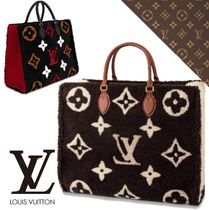 Louis Vuitton Monogram Casual Style Leather Shearling Logo Totes