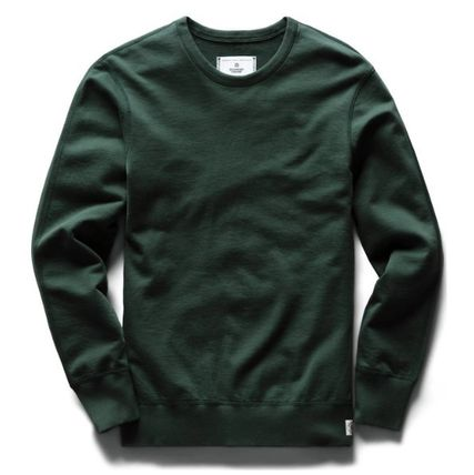 Crew Neck Long Sleeves Plain Cotton Sweatshirts