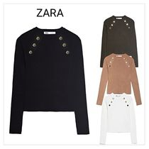 ZARA Rib Long Sleeves Plain Medium Khaki V-neck & Crew neck