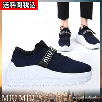 MiuMiu Platform Round Toe Rubber Sole Lace-up Plain Oversized